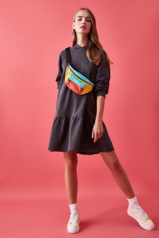 Trendyol Anthracite VolliHoodEd Knitted Sweat Dress dámské S