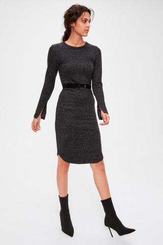 Trendyol Anthracite Yumoş Knitted Dress dámské XS