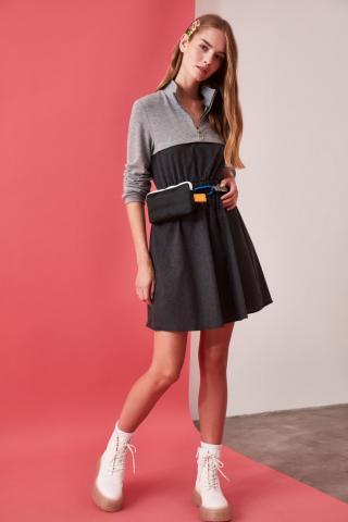 Trendyol Anthracite ZipperEd Dress dámské 34