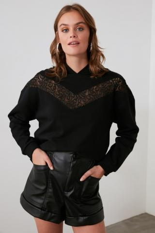 Trendyol Basic Knitted Sweatshirt with Black Lace Detailing dámské S