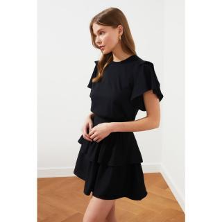 Trendyol Basic Knitted T-Shirt WITH Black Flywheel dámské XS
