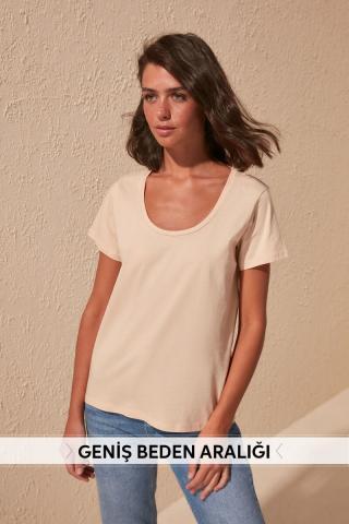 Trendyol Beige 100% Cotton Pool Collar Basic Knitted Shirt dámské M