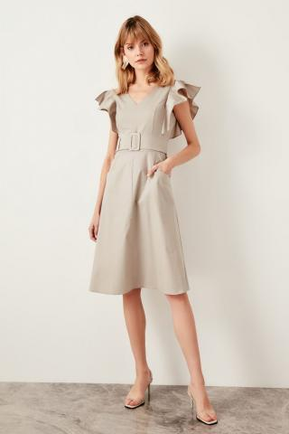 Trendyol Beige Belt Dress dámské 34