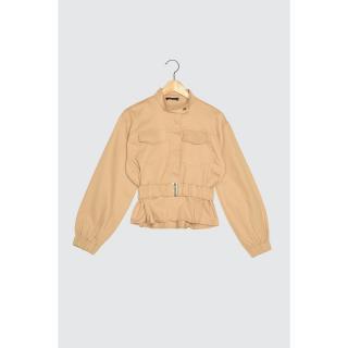 Trendyol Beige Belt Jacket dámské 34