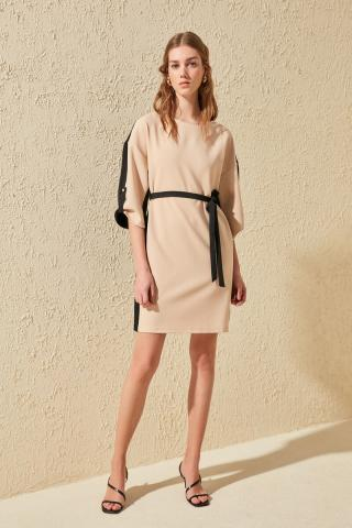 Trendyol Beige Belted Color BlockEd Dress dámské 34
