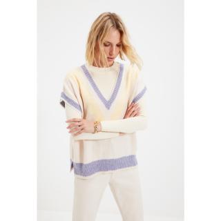Trendyol Beige Color Block V Neck Knitwear Sweater dámské Other L