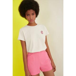 Trendyol Beige Embroidered Basic Knitted T-Shirt dámské XS