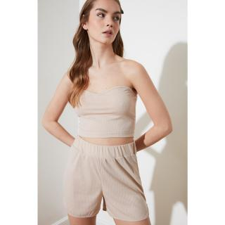Trendyol Beige Fitilli Bustier and Shorts Knitted Bottom-Top Tool dámské S