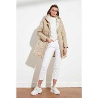 Trendyol Beige Hooded Quilted Inflatable Coat dámské S