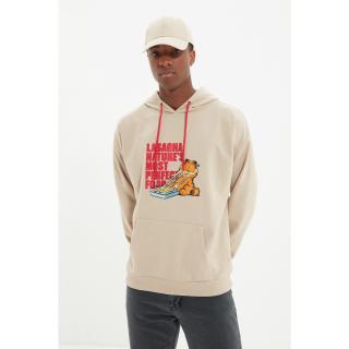 Trendyol Beige Mens Licensed Garfield Printed Oversized Hoodie Sweatshirt pánské Other XL