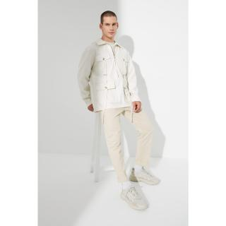 Trendyol Beige Mens Oversize Shirt Collar Half-Pleated Long Sleeve Multi-Pocket PU Jacket pánské Other S
