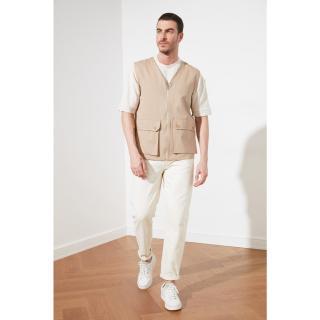 Trendyol Beige Mens Pocket Detailed Vest pánské S