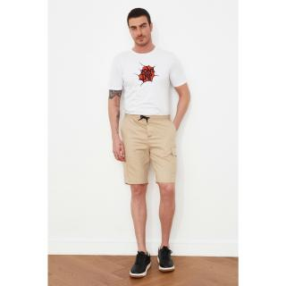 Trendyol Beige Mens Pocket Rubber Certain Lace-Up Shorts & Bermuda pánské S