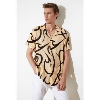 Trendyol Beige Mens Regular Fit Apas Collar Geometric Printed Shirt pánské S