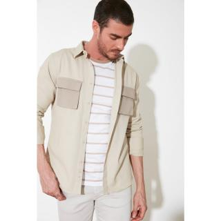 Trendyol Beige Mens Regular Fit Double Pocket Cover Shirt pánské S