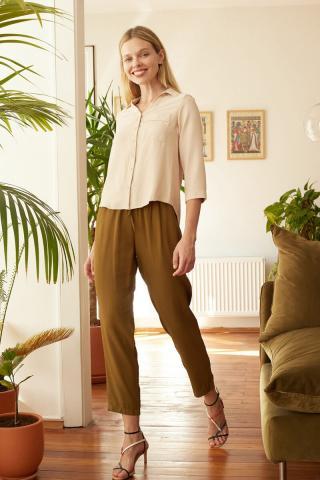 Trendyol Beige Pocket Detailed Shirt dámské 34