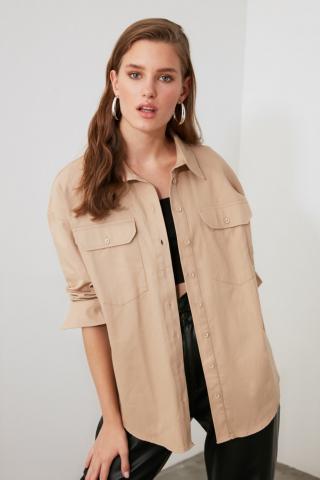 Trendyol Beige Pocket Detailed Shirt dámské 36