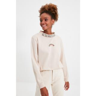 Trendyol Beige Printed Basic Thick Knitted Sweatshirt dámské Other L