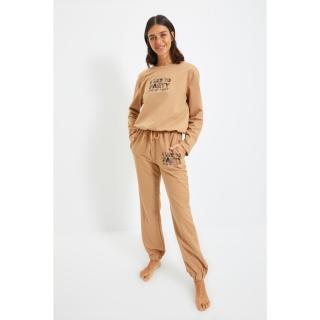 Trendyol Beige Printed Knitted Pajamas Set dámské Other XXL