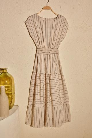 Trendyol Beige Waist Gathered Dress dámské 34