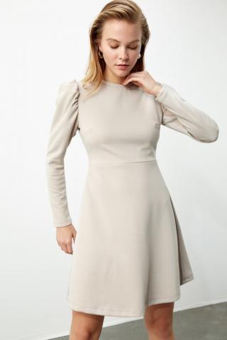 Trendyol Beige Watermelon Sleeve Knitting Dress dámské XS