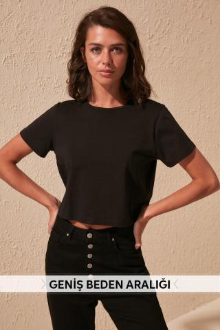 Trendyol Black 100% Cotton Bike Collar Crop Knitted T-Shirt dámské XS