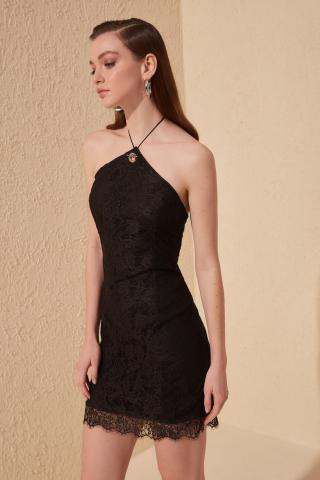 Trendyol Black Accessory Detailed Dress dámské 36