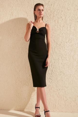 Trendyol Black Accessory Detailed Dress dámské 38