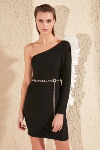 Trendyol Black Akseuar Detailed Dress dámské 36