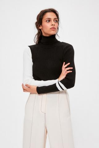 Trendyol Black Arm Color Block Knitwear Sweater dámské M