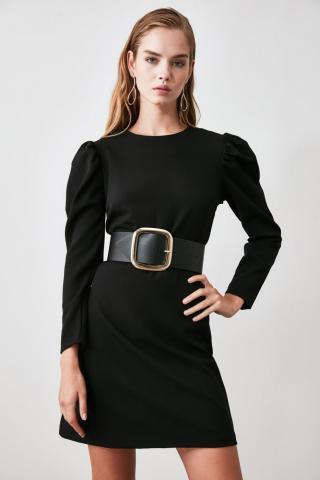 Trendyol Black Arm Ruffled Dress dámské 34