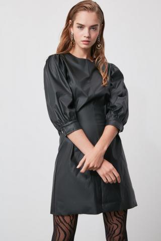 Trendyol Black Artificial Leather Dress dámské 34