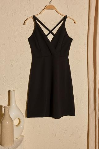 Trendyol Black Back Detailed Knitting Dress dámské S