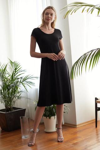 Trendyol Black Back Detailed Midi Knitting Dress dámské XS