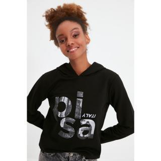 Trendyol Black Basic Hoodie Printed Knitted Sweatshirt dámské Other XXL