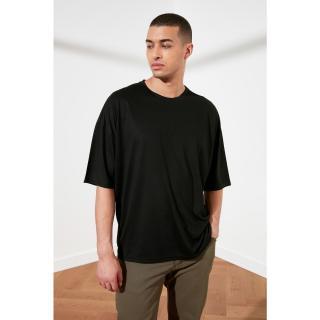 Trendyol Black Basic Mens Bike Collar Oversize Short Sleeve T-Shirt pánské S