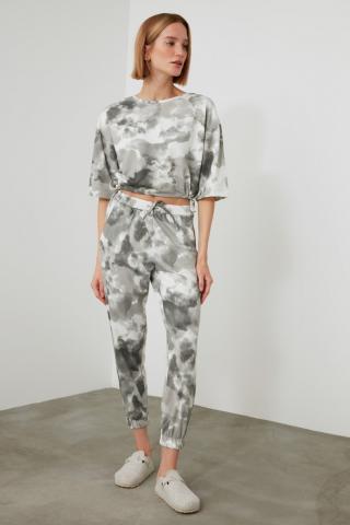Trendyol Black Batik Pattern Knitted Bottom-Top Suit dámské XS