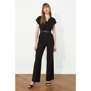 Trendyol Black Belt Croissant Collar Jumpsuit dámské 34