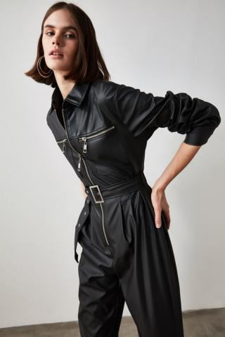 Trendyol Black Belt Leather Looking Jumpsuit dámské 34