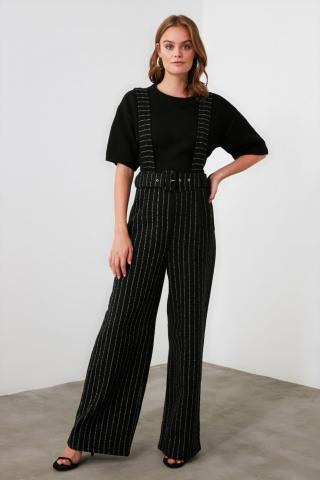 Trendyol Black Belt Straps Striped Jumpsuit dámské 34
