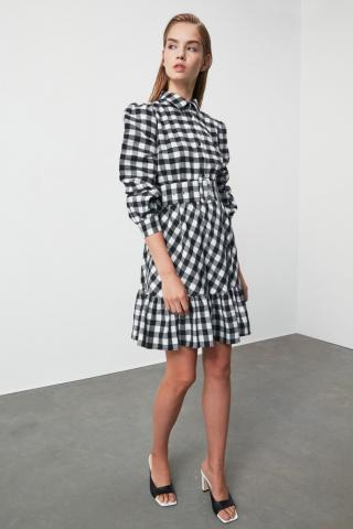 Trendyol Black Belted Carat Dress dámské 34