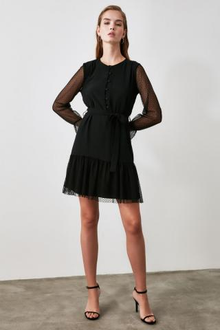 Trendyol Black Belted Tulle Detailed Dress dámské 34