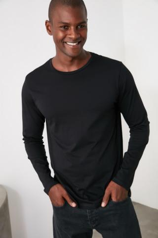 Trendyol Black Bike Collar Long Sleeve Basic T-Shirt pánské S