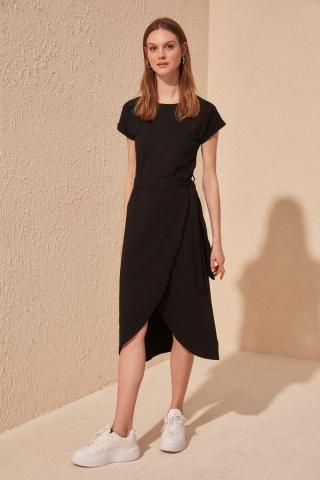 Trendyol Black Binding Detailed Knitting Dress dámské S