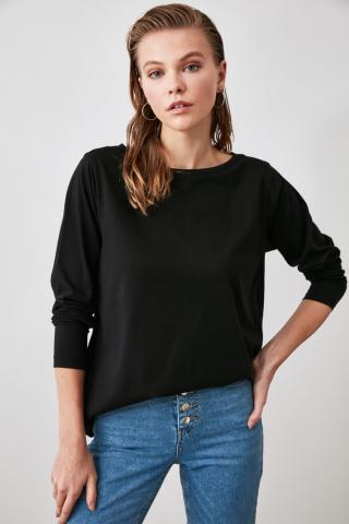 Trendyol Black Boat Collar Basic Knitted T-Shirt dámské XS