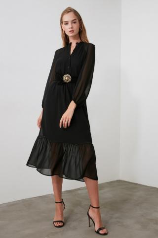 Trendyol Black Button Detail Dress dámské 36