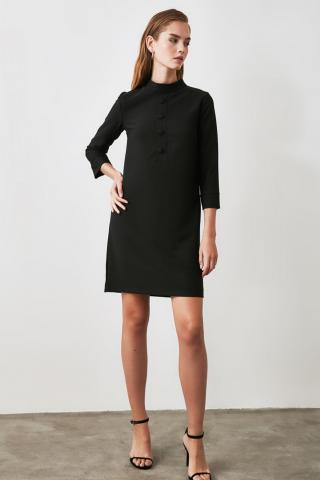 Trendyol Black Button Detailed Dress dámské 34