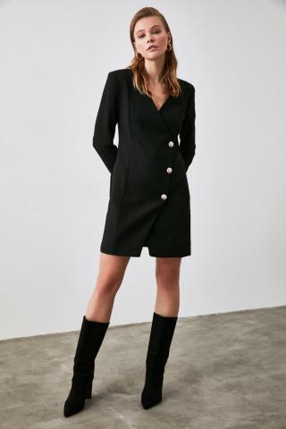 Trendyol Black Button Detailed Jacket Dress dámské 34