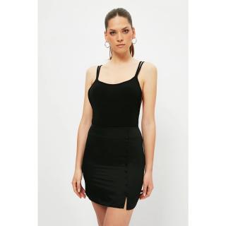 Trendyol Black Buttoned Cotton Satin Skirt dámské 34