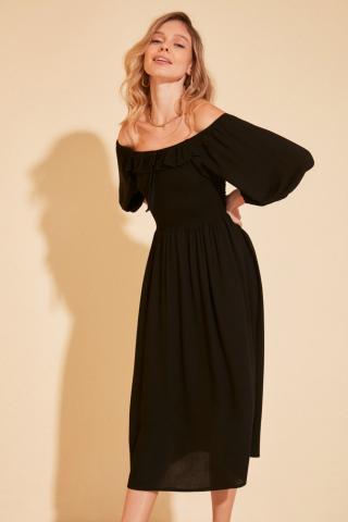 Trendyol Black Carmen Collar Gipe Detailed Dress dámské 34